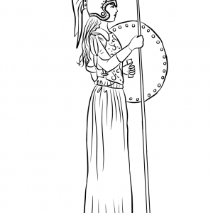 GREEK ATHENA ATHENE Figure Free Clipart Coloring Pages for Kids Adults Art Activities Line Art