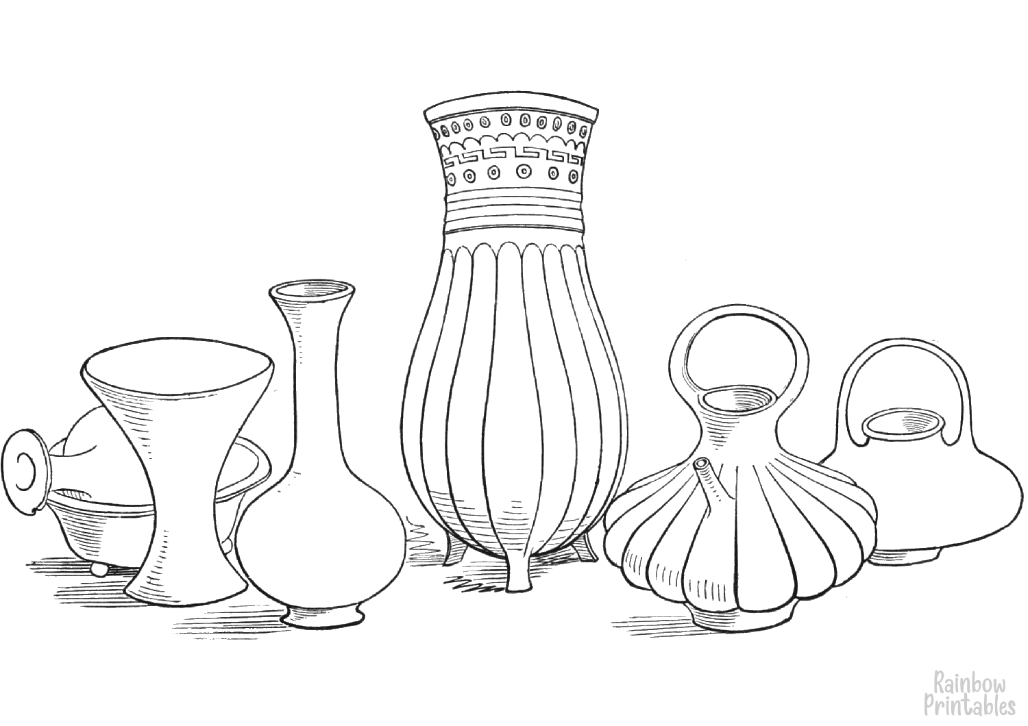 aztec ancient vases and vessels coloring page