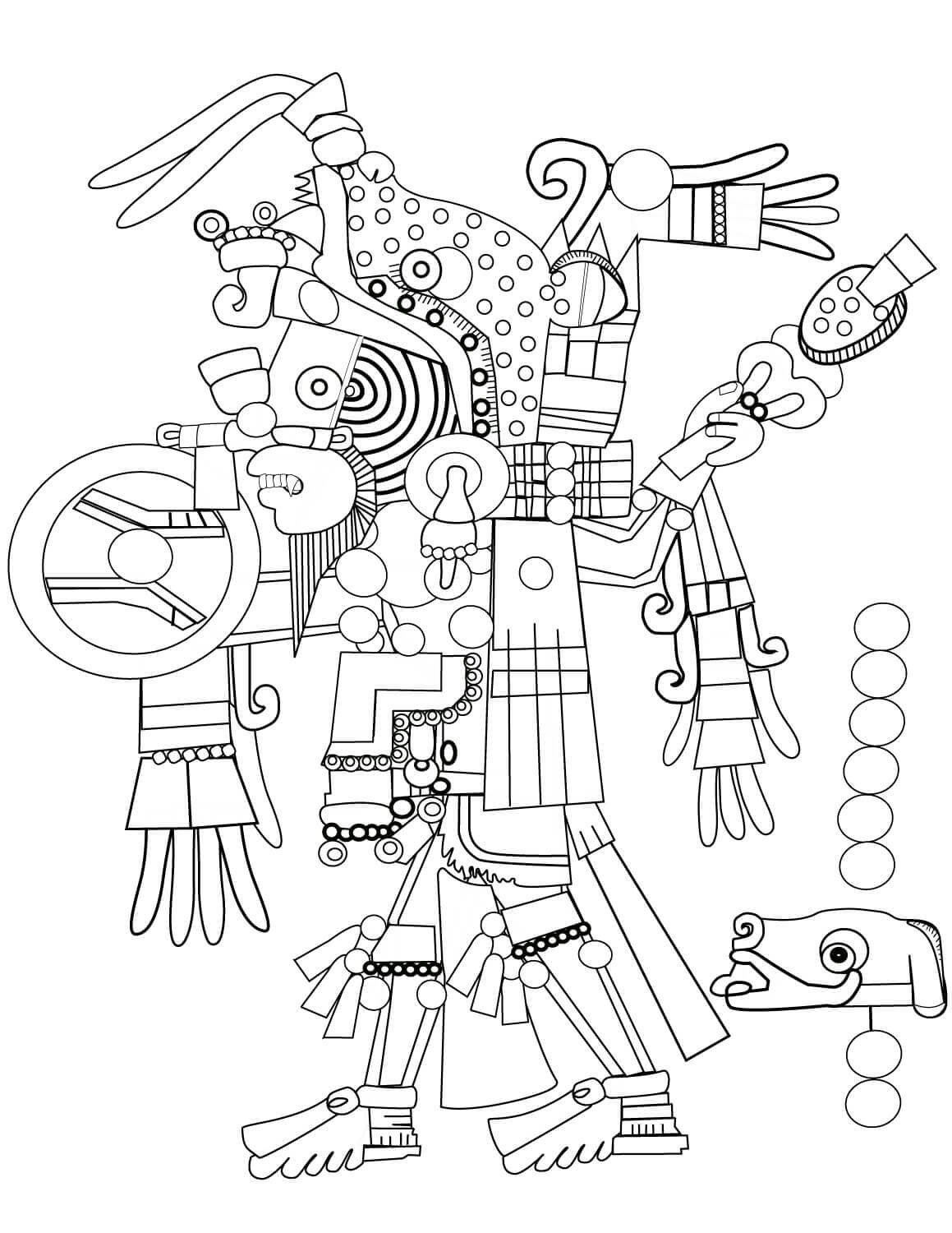 AZTEC-ART-CLipart-Cartoon-Free-Clipart-Line-Drawing-coloring-page-Activity-For-Kids