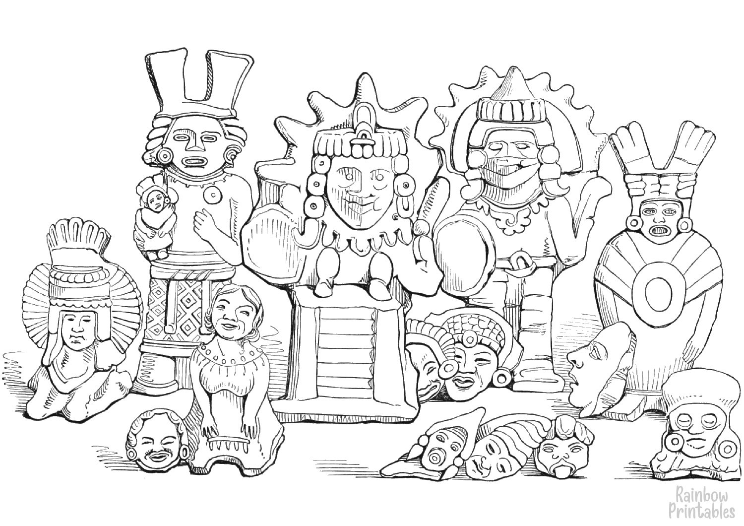 cartoon-line-art-world-cultures-aztec-clay-coloring-page-for-kids