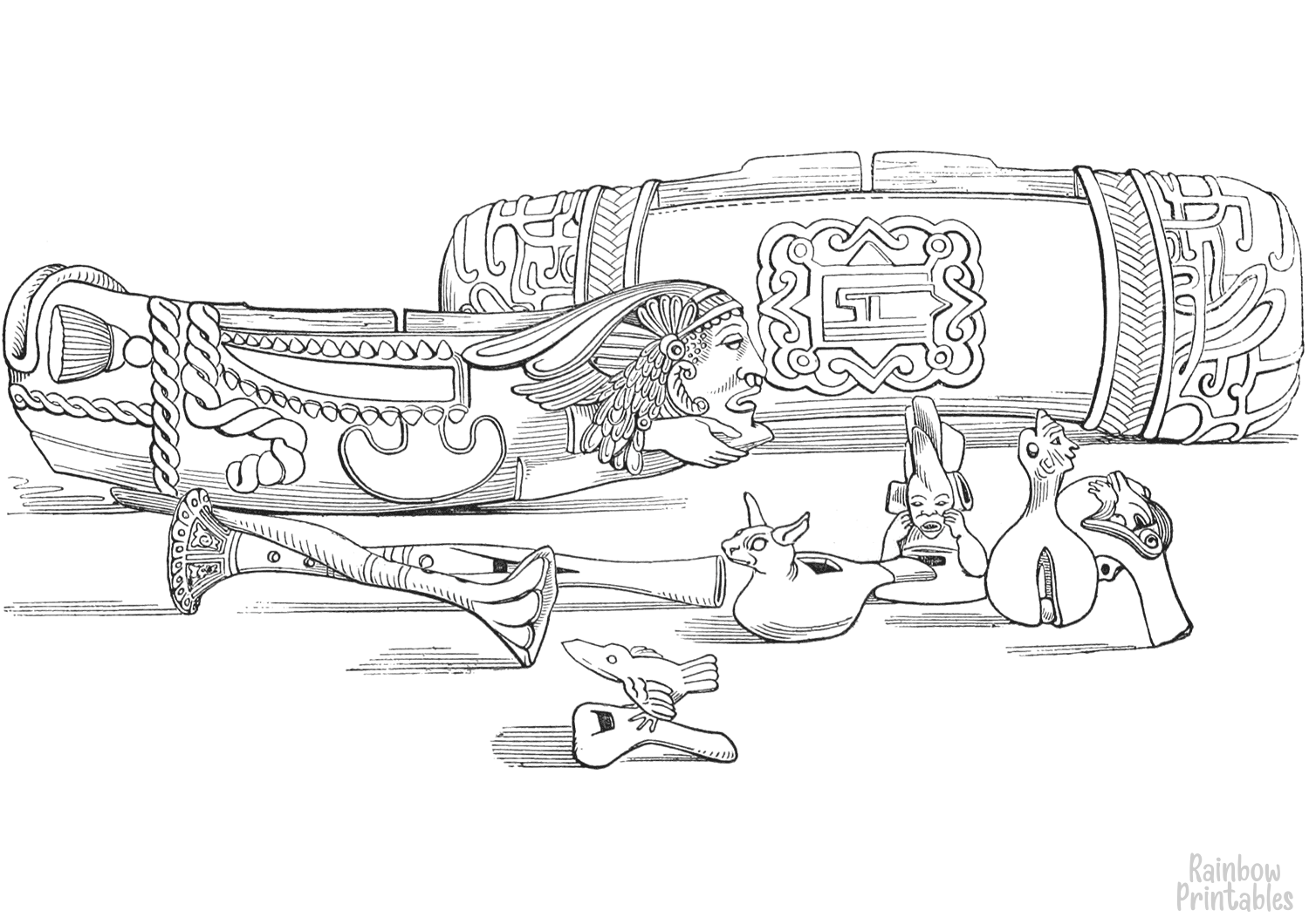 cartoon-line-art-world-cultures-aztec-musical-instruments-coloring-page-for-kids