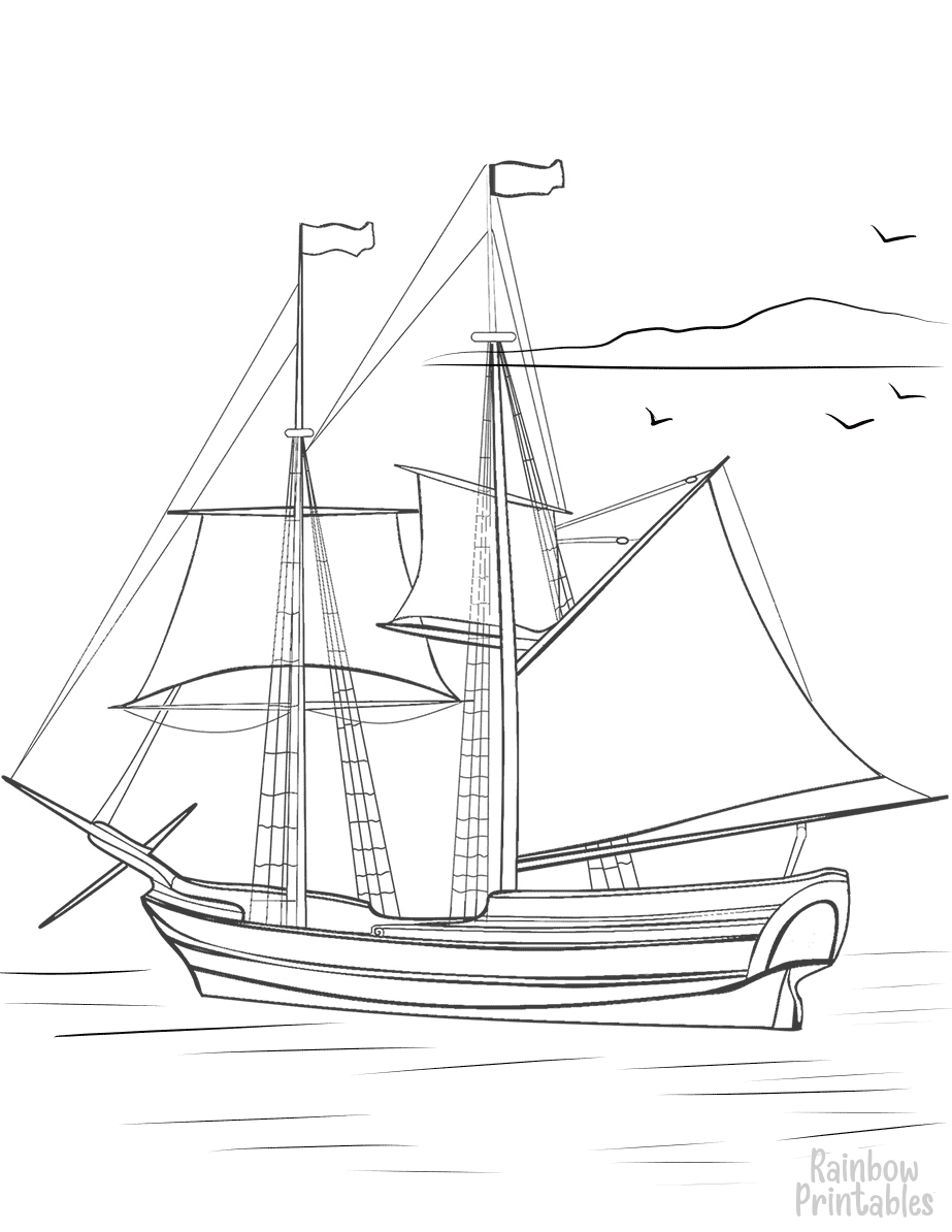 SHIP-BOAT-BRIG-COLORING-Clipart Coloring Pages for Kids Adults Art Activities Line Art