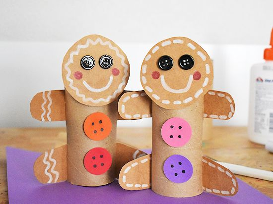 Cardboard Roll-Gingerbread Man made from tissue cardboard rolls and paper