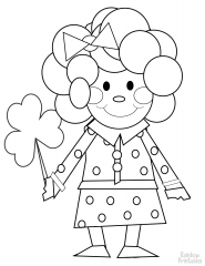 cartoon girl with shamrock coloring page