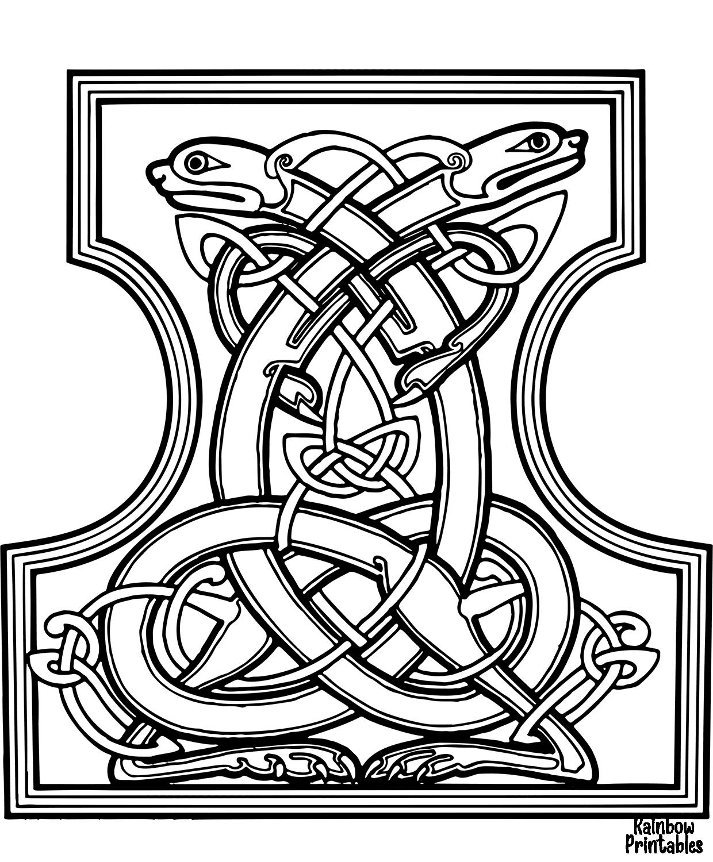 celtic letter i dogs design coloring page