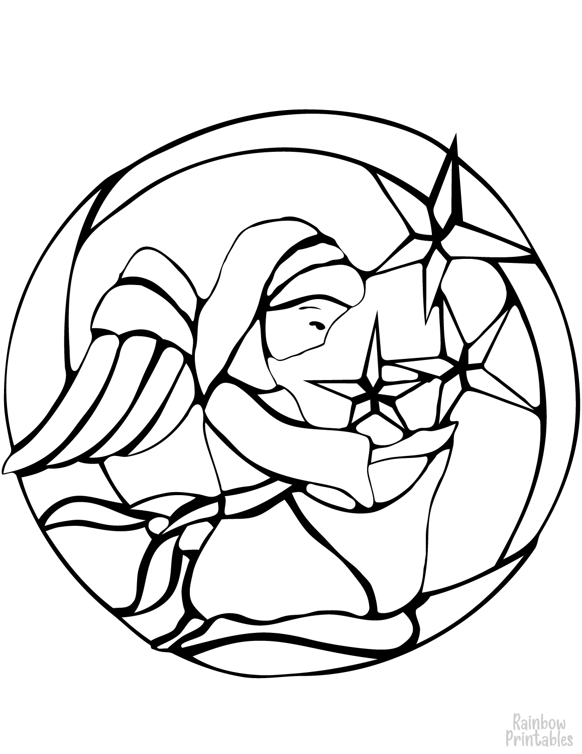 christmas angel stained glass coloring page