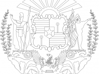 Flag coat-of-arms-of-hawaii Public Domain Coloring Pages Line Art Drawings for Kids-