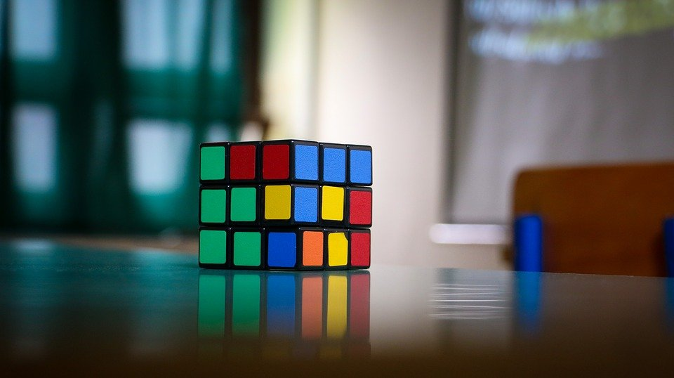 A picture of a Rubik's cube on a table