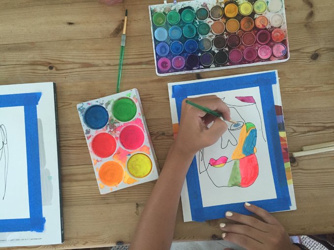 blind contour colorful drawing