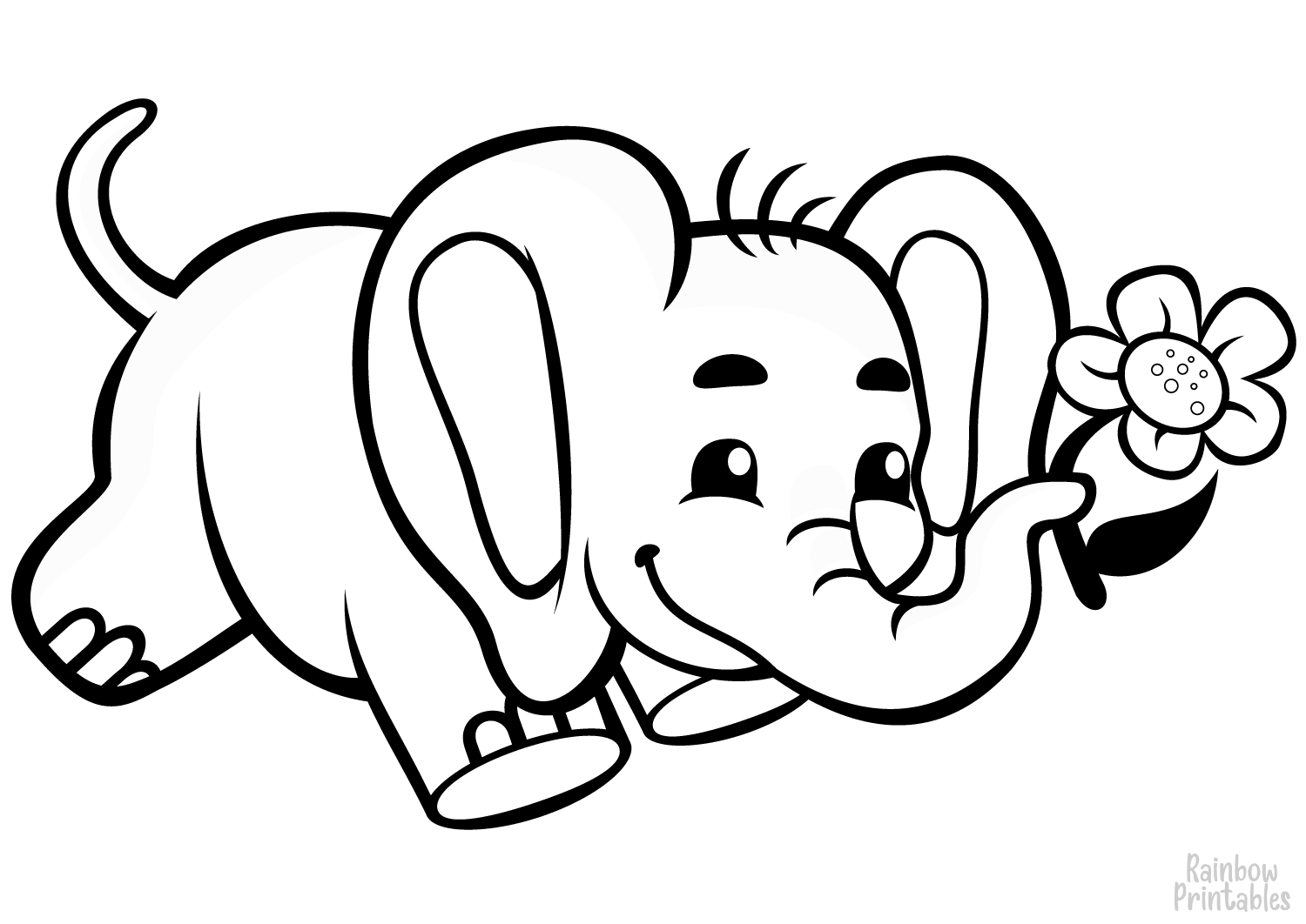 cute baby elephant with flower coloring page
