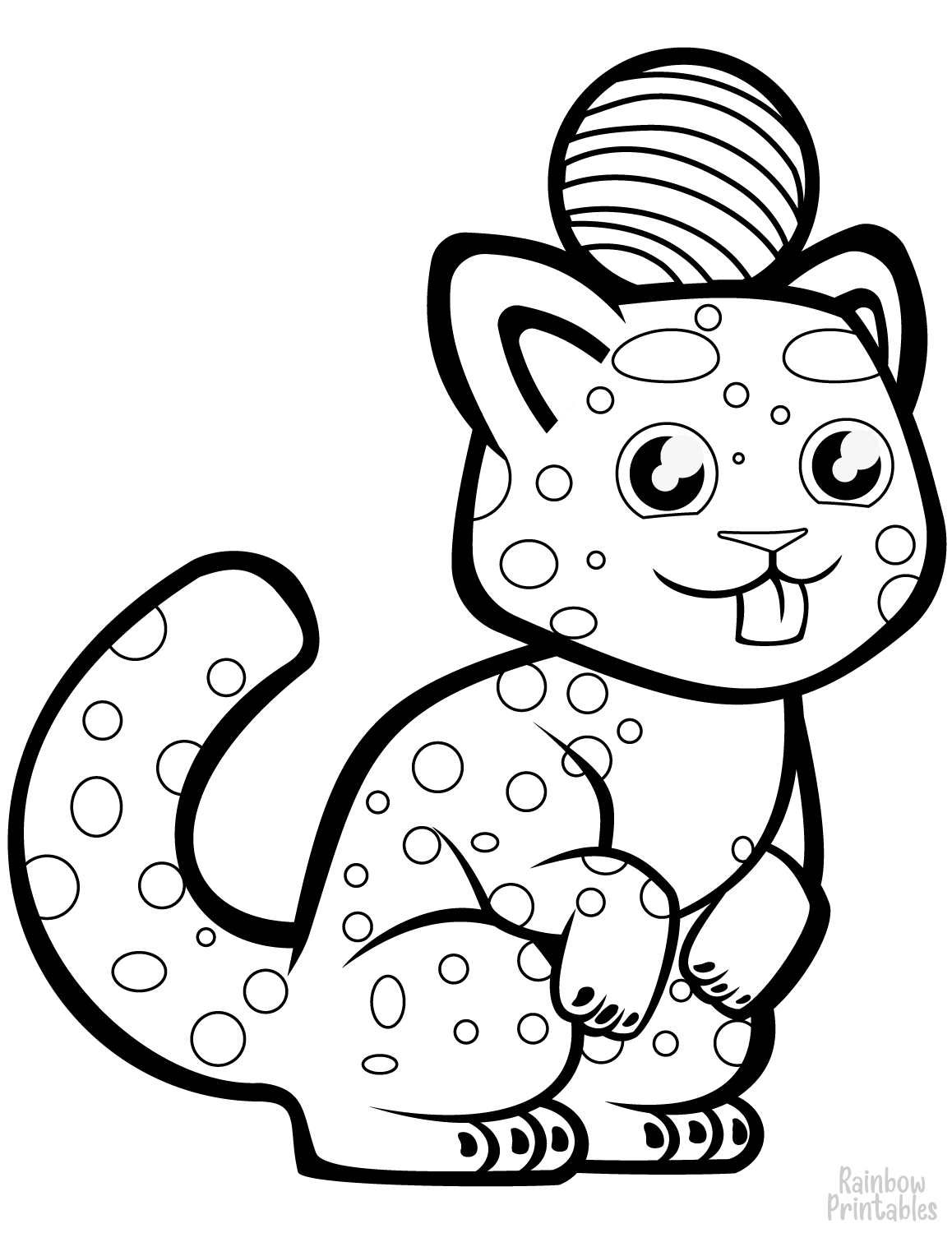 cute cheetah with a ball on its head coloring page