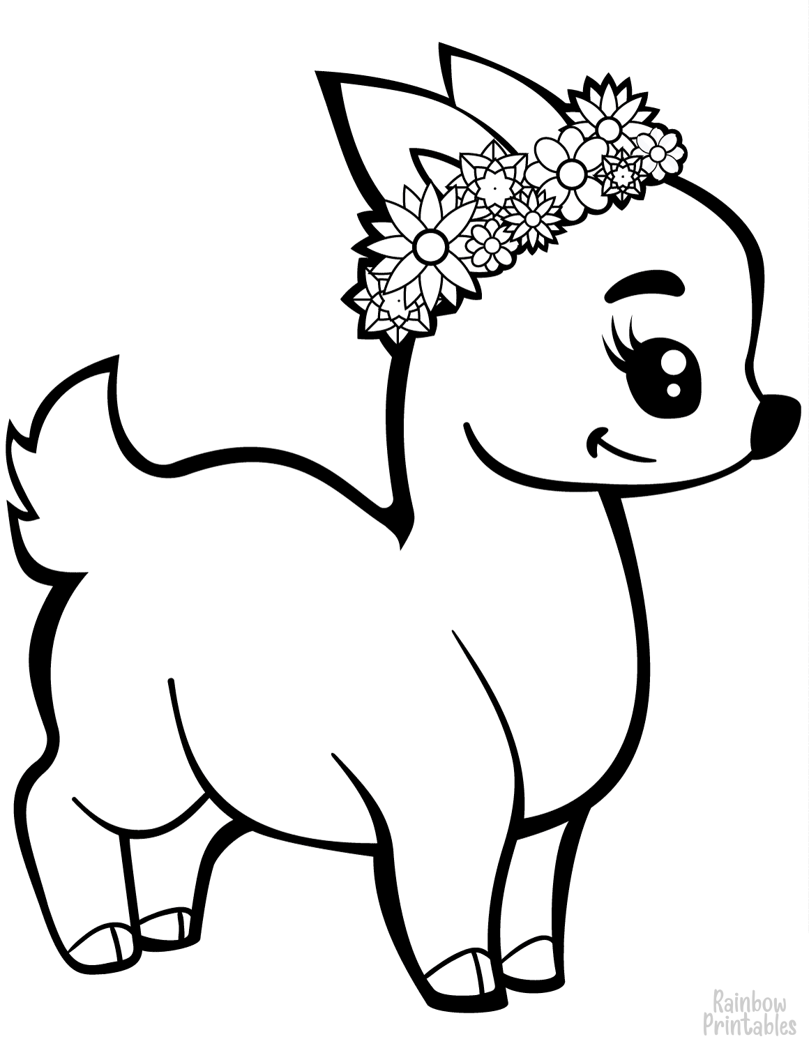 cute flower fawn deer wreath coloring page for girls