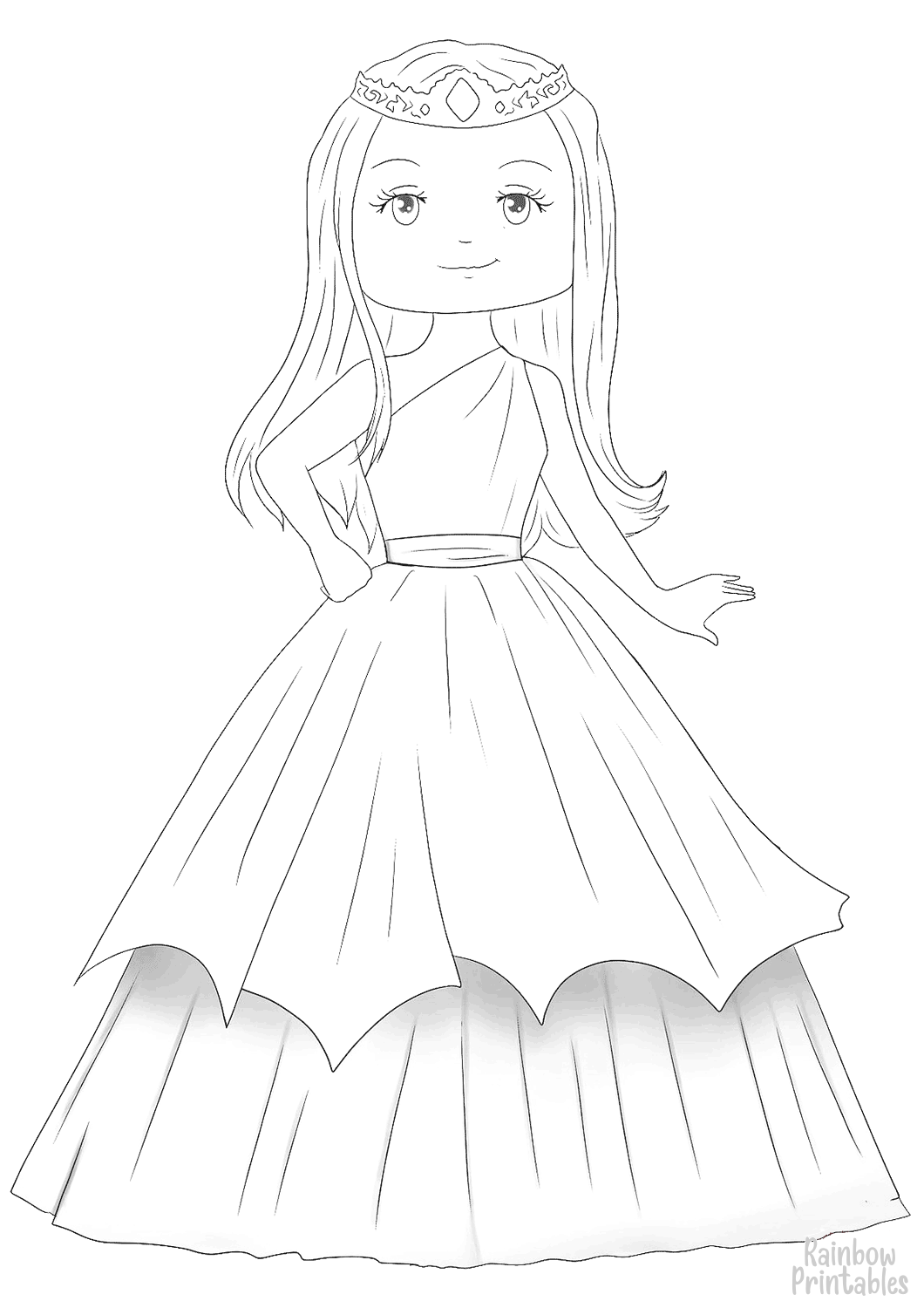 Pencil Draw Cute Fashionable Princess in Dress Figure Free Clipart Coloring Pages for Kids Adults Art Activities Line Art