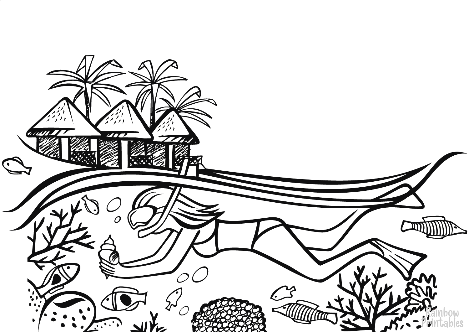 diving-girl-on-the-maldives-Clipart Coloring Pages for Kids Adults Art Activities Line Art