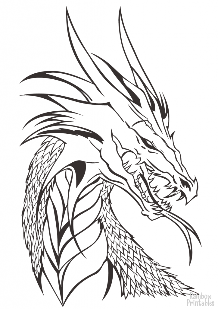 SIMPLE-EASY-line-drawings-DRAGON-HEAD-coloring-page-for-kids-wings-of-fire