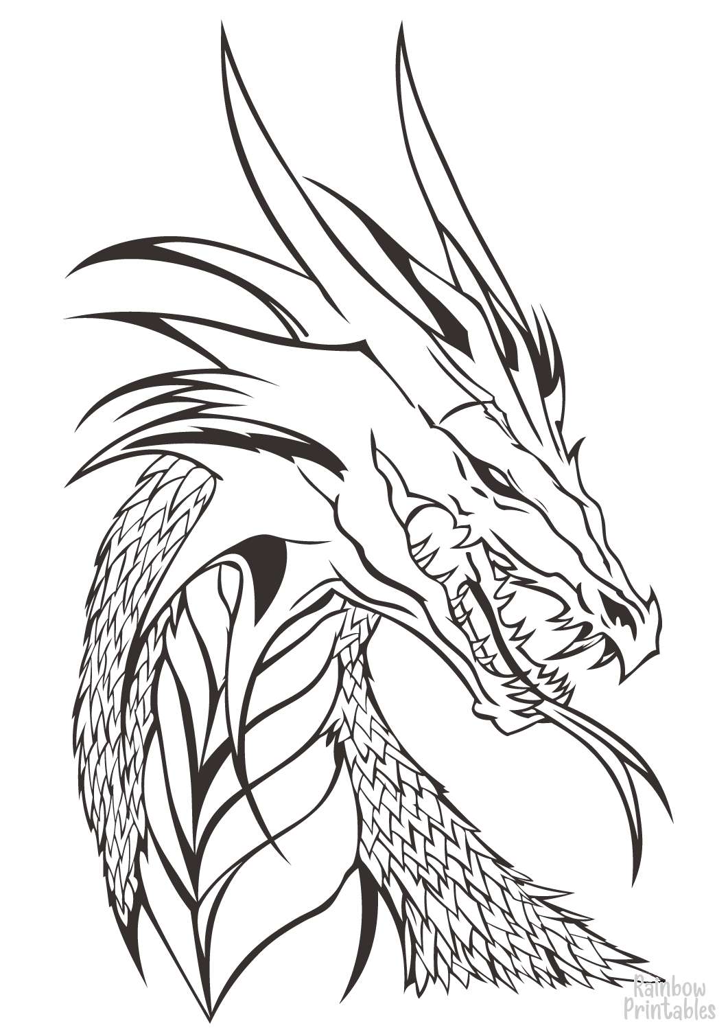 SIMPLE-EASY-line-drawings-DRAGON-HEAD-coloring-page-for-kids