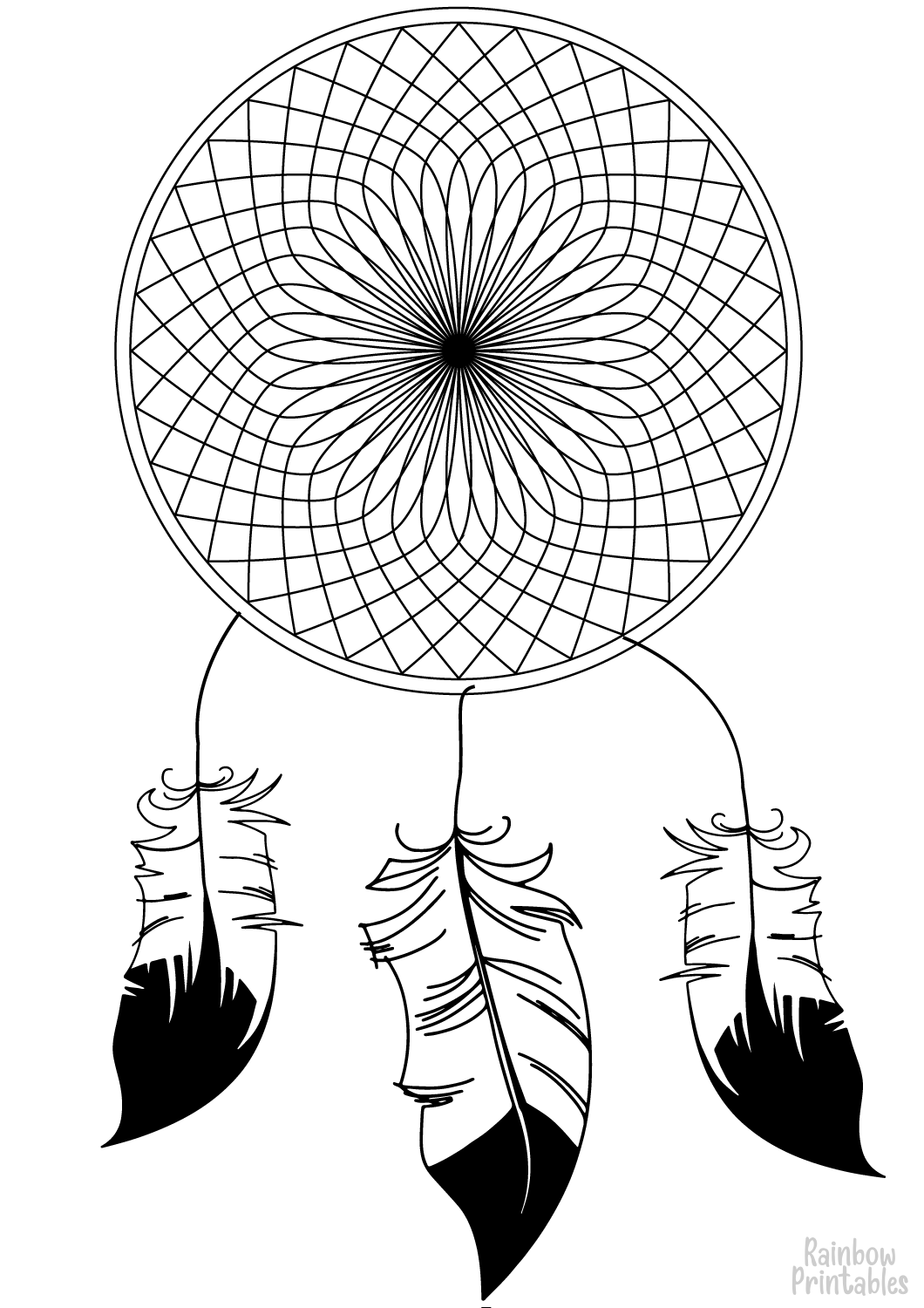 Indian-Dream-Catcher Good Luck Charm Coloring Page