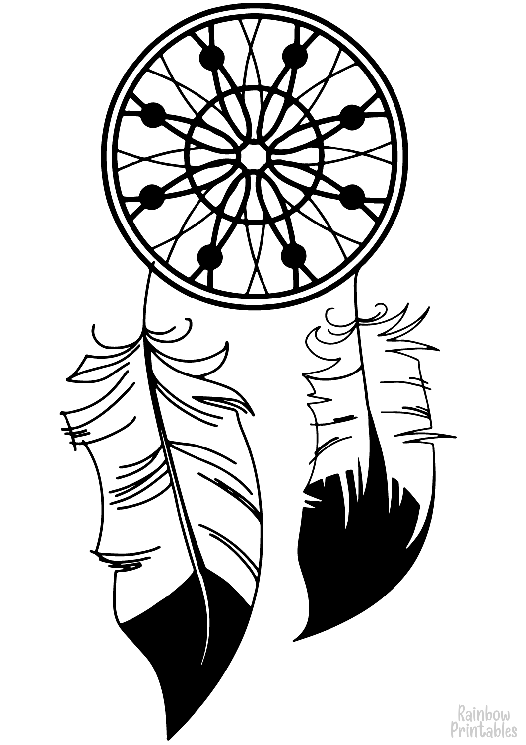 dream catcher 3 coloring page