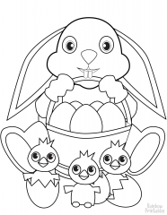 easter bunny with basket and chicks coloring page