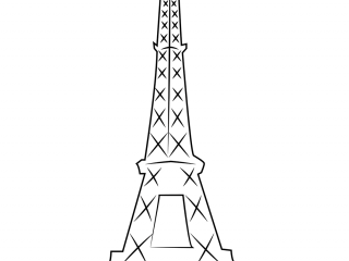 Parisian Eiffel Tower-Clipart Coloring Pages for Kids Adults Art Activities Line Art