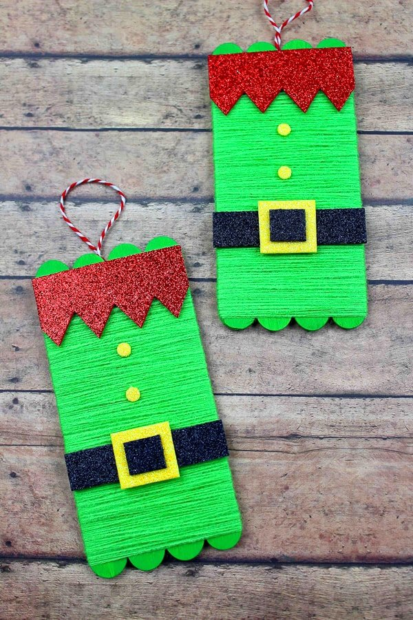 elf ornament made from yarn and glittery paper