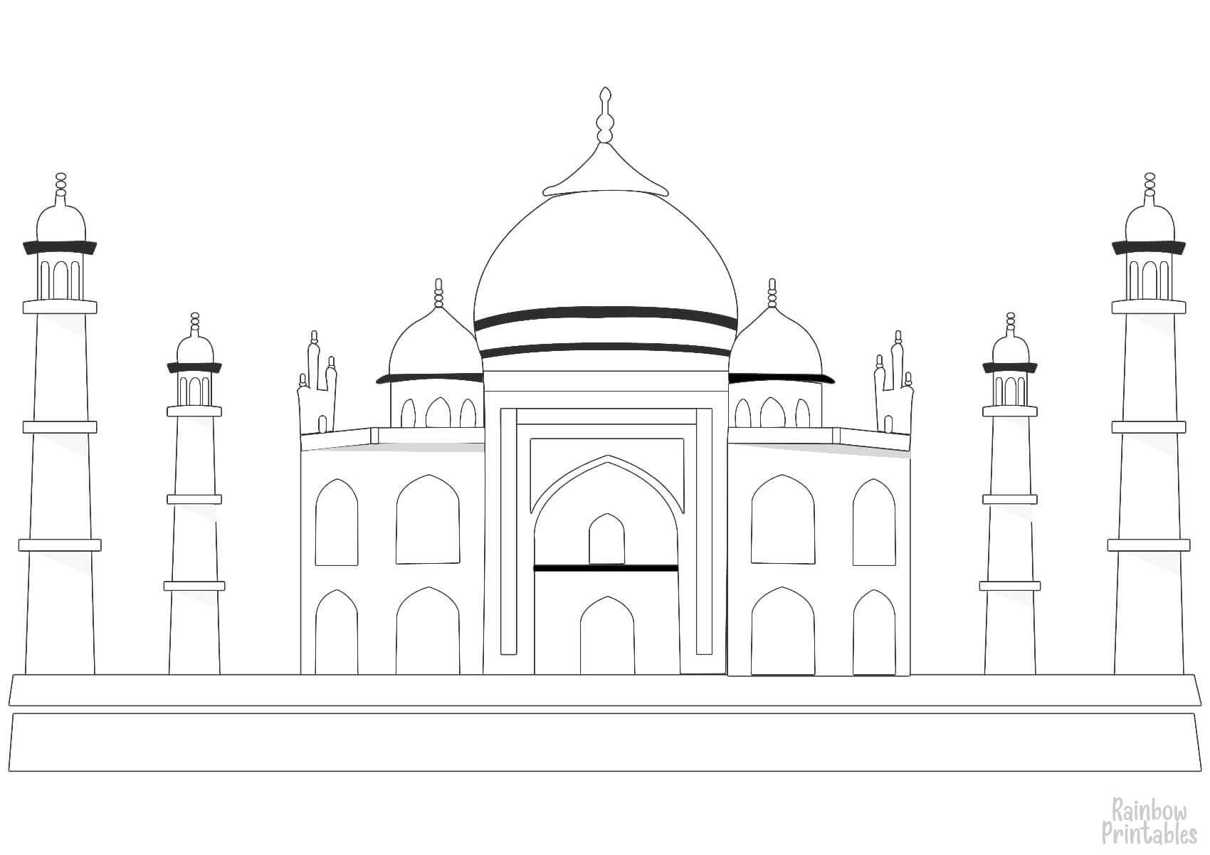TAJ MAHAL-Clipart Coloring Pages for Kids Adults Art Activities Line Art