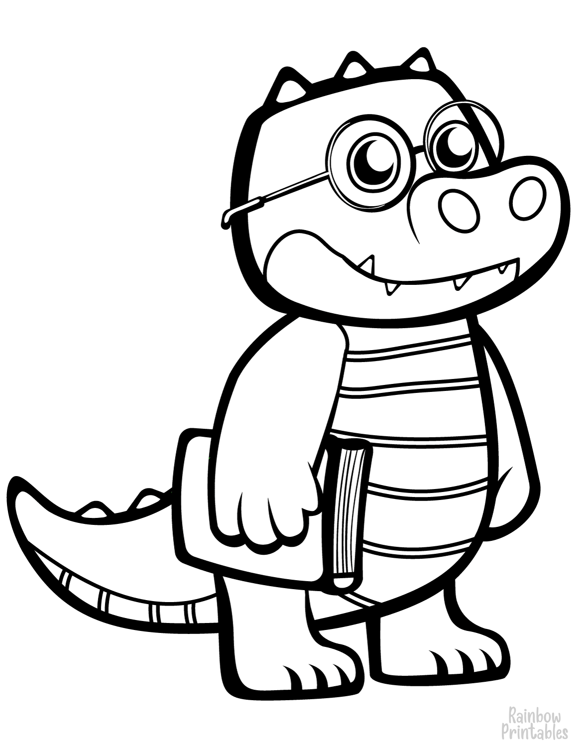 funny crocodile with glasses coloring page