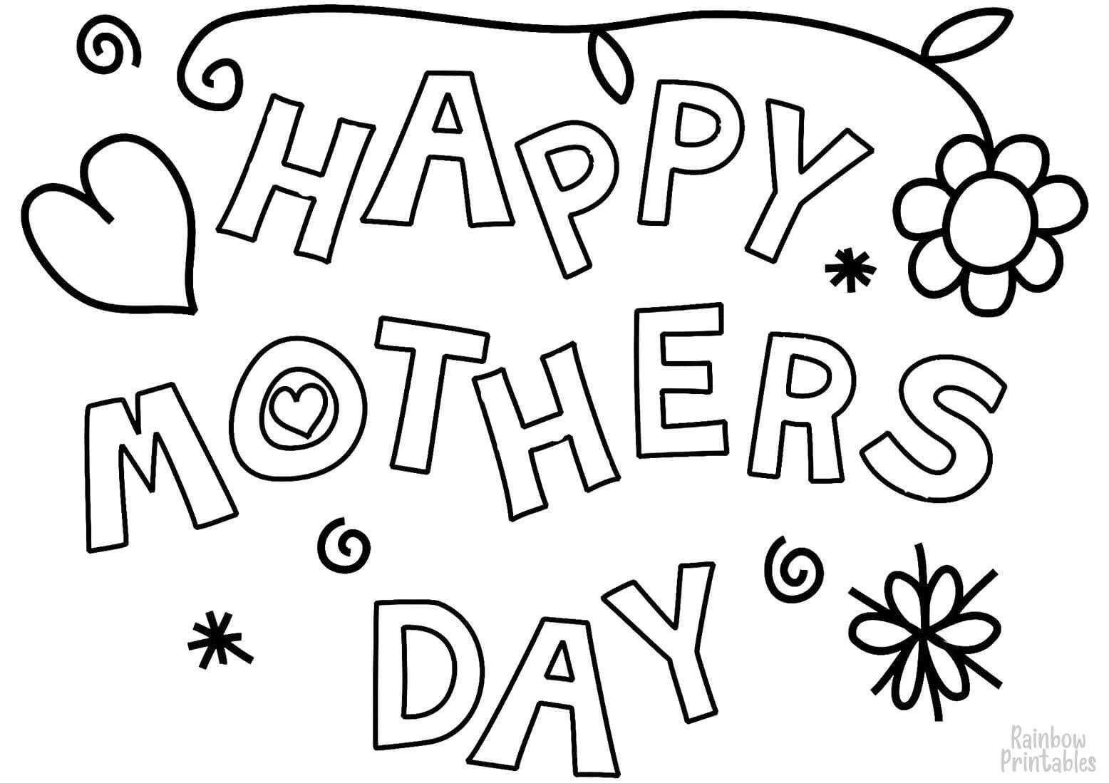 Happy Mothers Day Clipart Coloring Pages for Kids Adults Art Activities Line Art