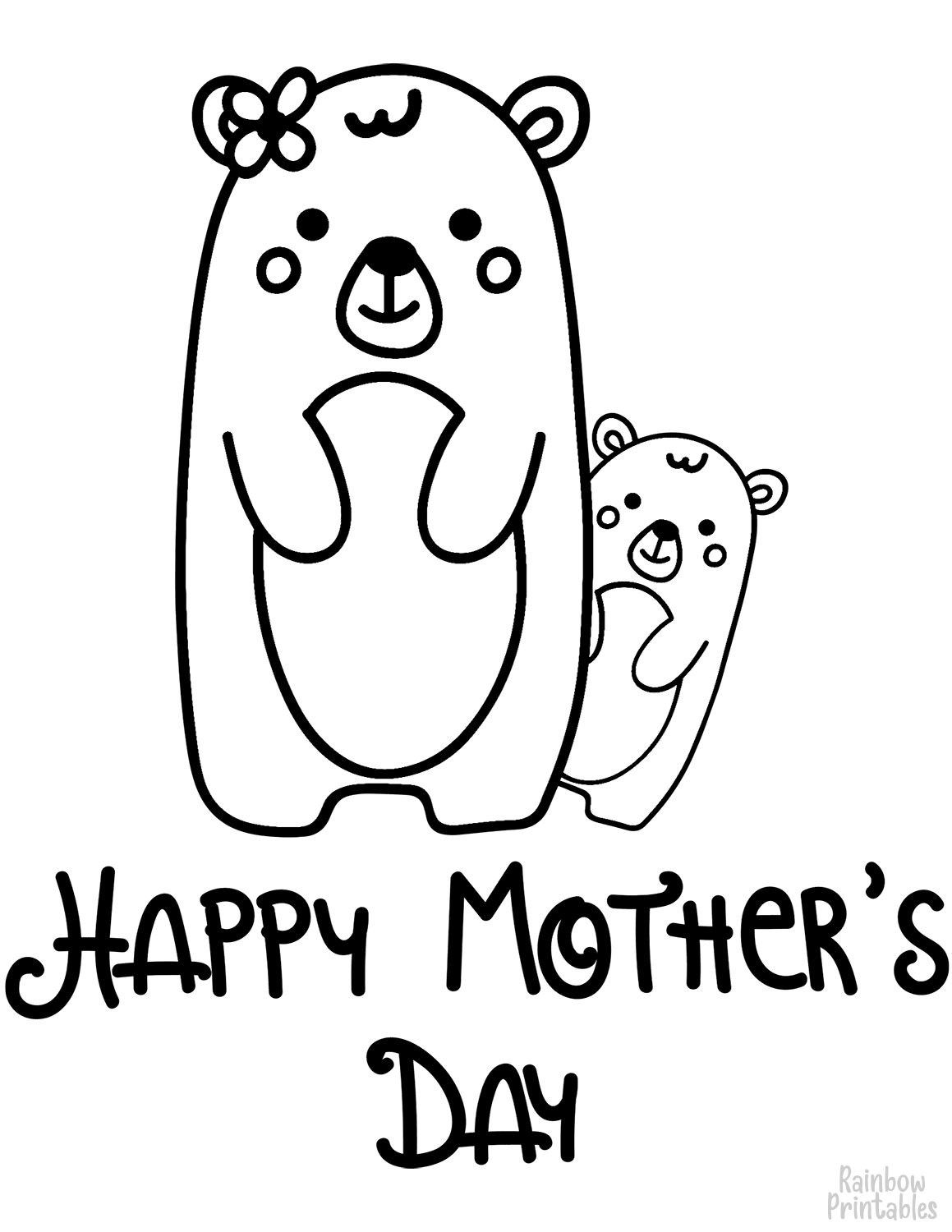 Happy Mothers Day BEar Mom and Baby bear cub Clipart Coloring Pages for Kids Adults Art Activities Line Art