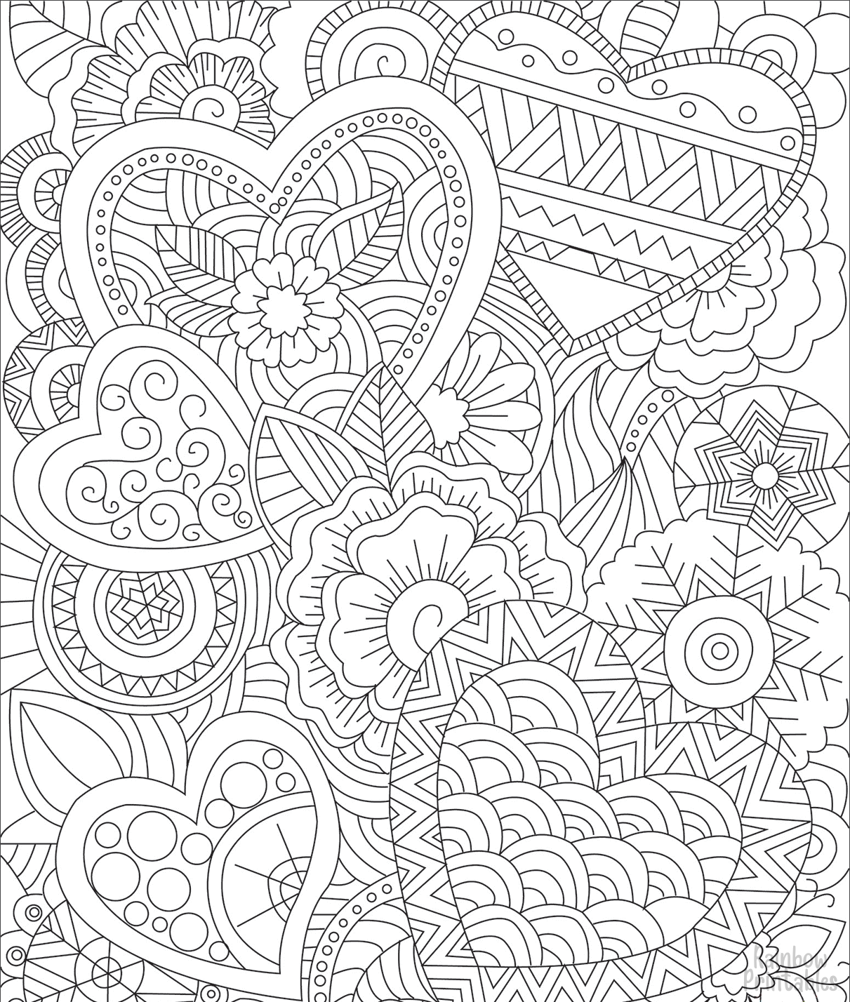 hearts zentangle coloring page
