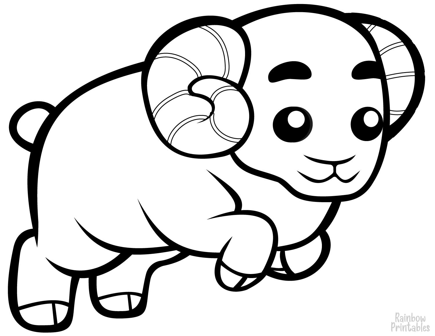 Sheeps, Rams, Lambs & Goats Coloring Pages for Kids