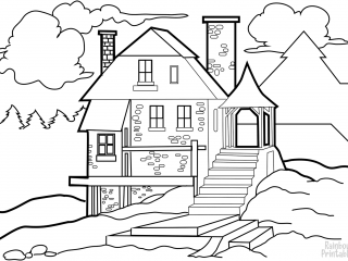 Coloring-Activity-house-in-the-wilderness-coloring-page for Kids