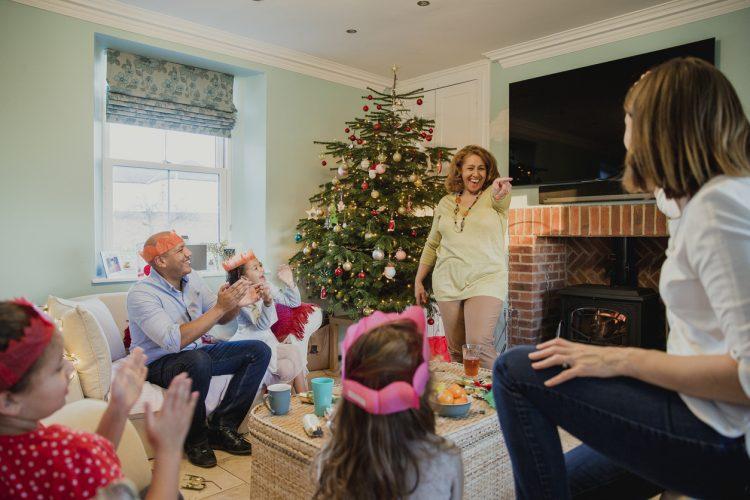 Family having fun on Christmas