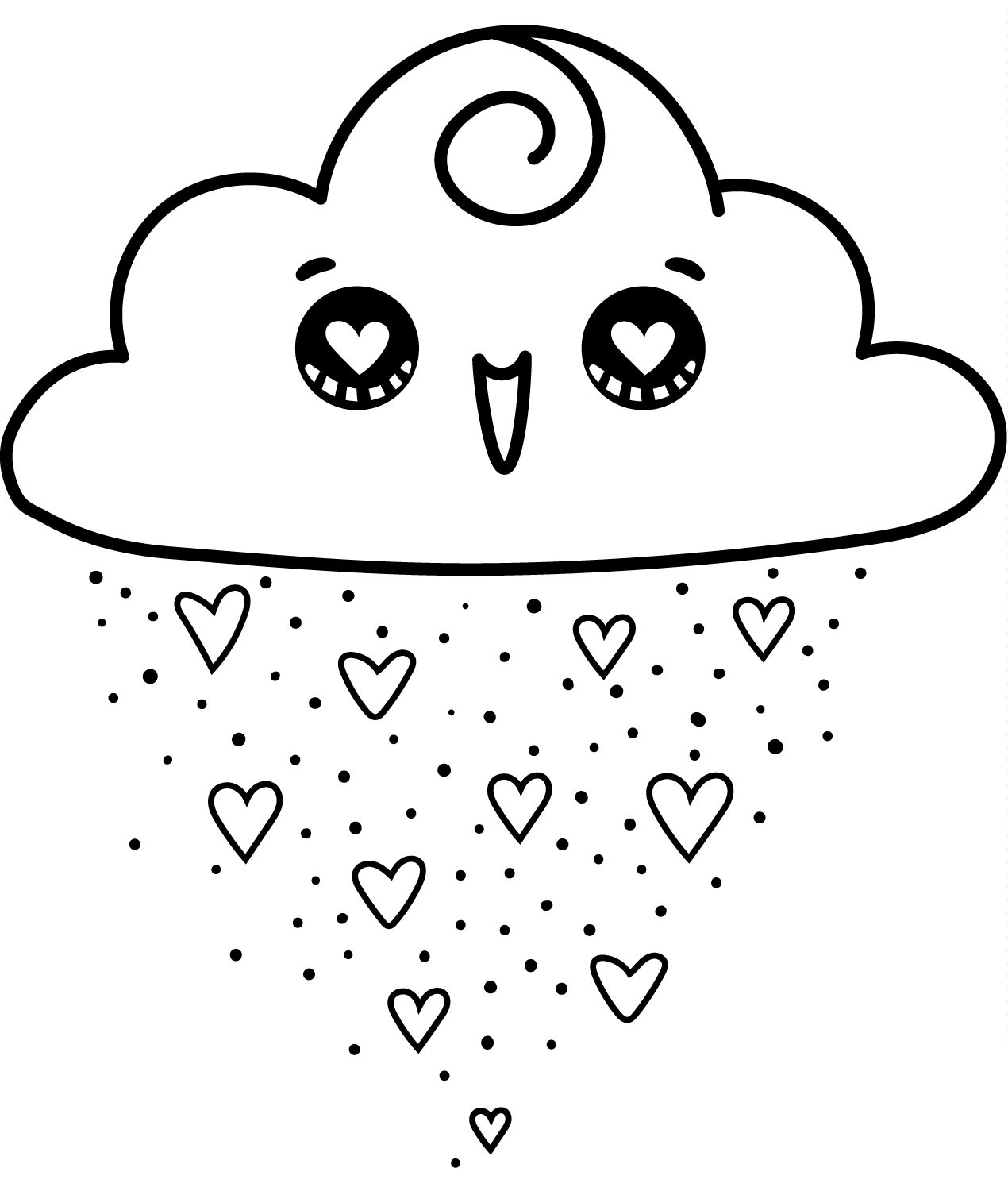KAWAII HEART HAPPY CLOUD-Clipart Coloring Pages for Kids Adults Art Activities Line Art