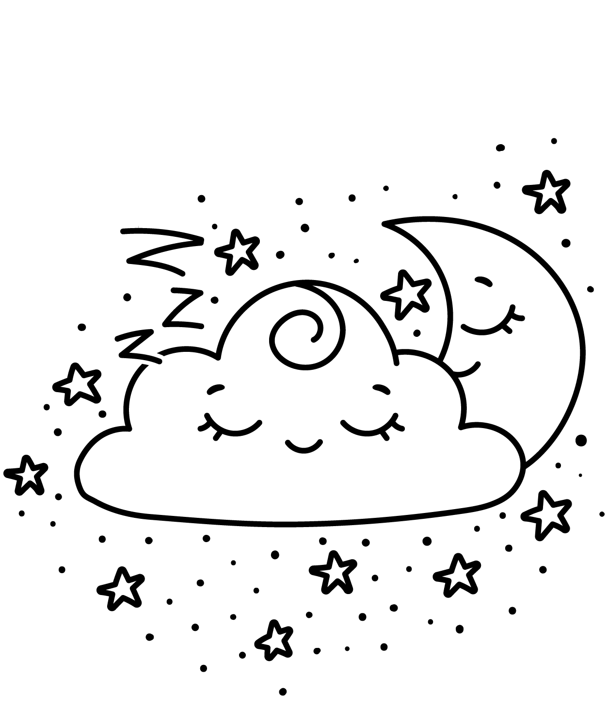 KAWAII SLEEPY MOON HAPPY CLOUD-Clipart Coloring Pages for Kids Adults Art Activities Line Art
