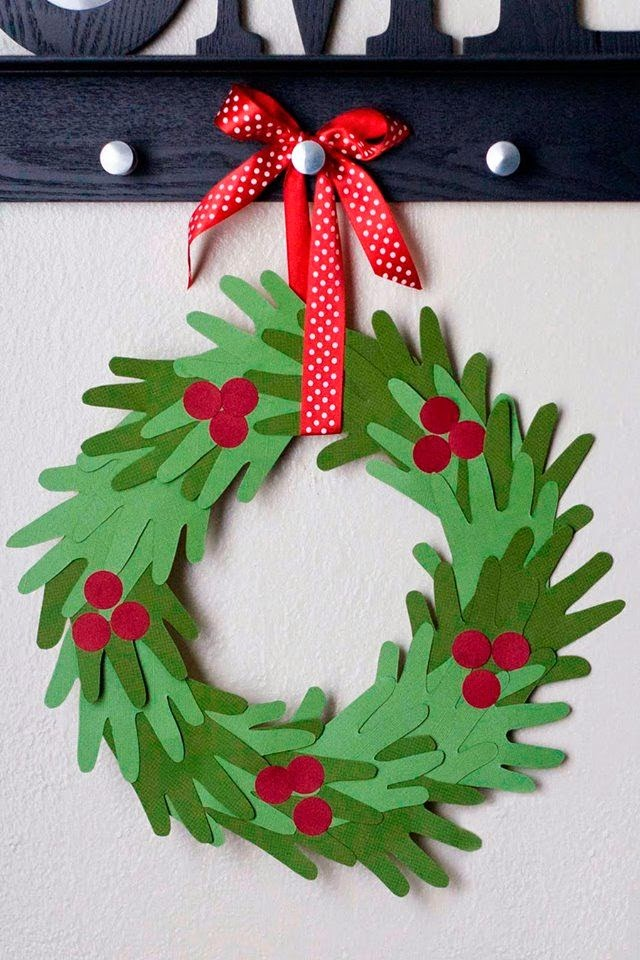 paper wreath made from hand-shaped cutouts