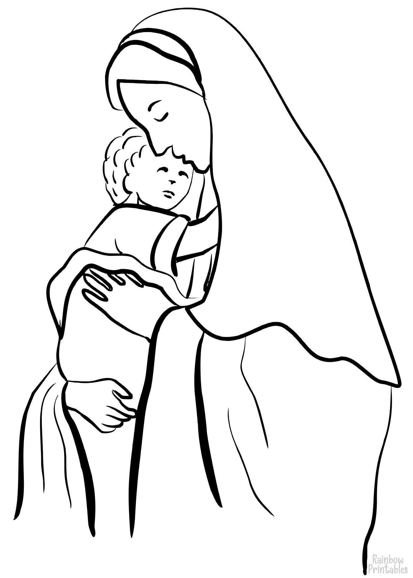 mother mary holding child jesus coloring page