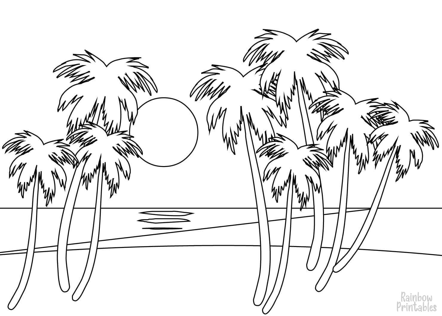 PALM BEACH TREE-Clipart Coloring Pages for Kids Adults Art Activities Line Art