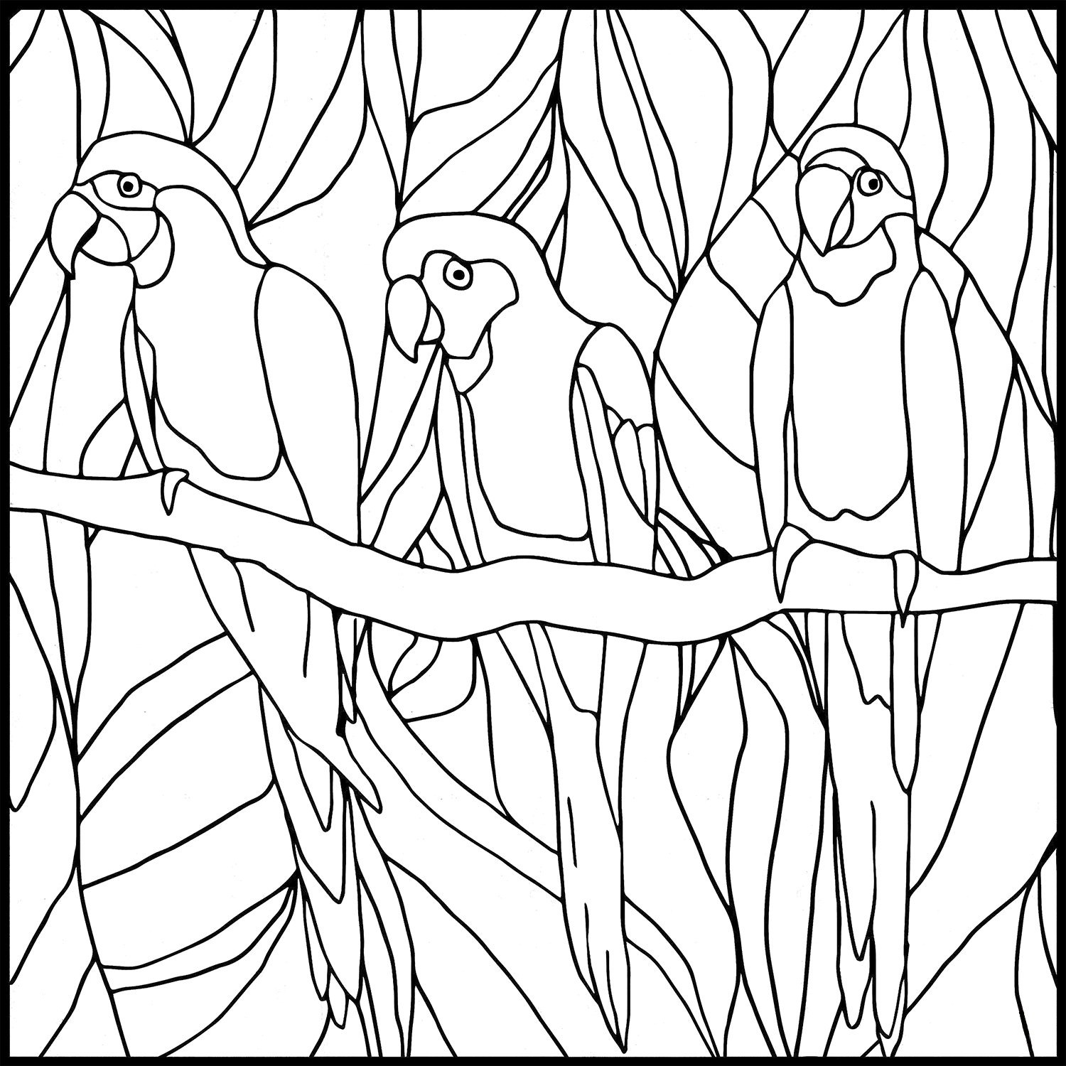 STAINED GLASS PARROT WINDOW Clipart Coloring Pages for Kids Adults Art Activities Line Art