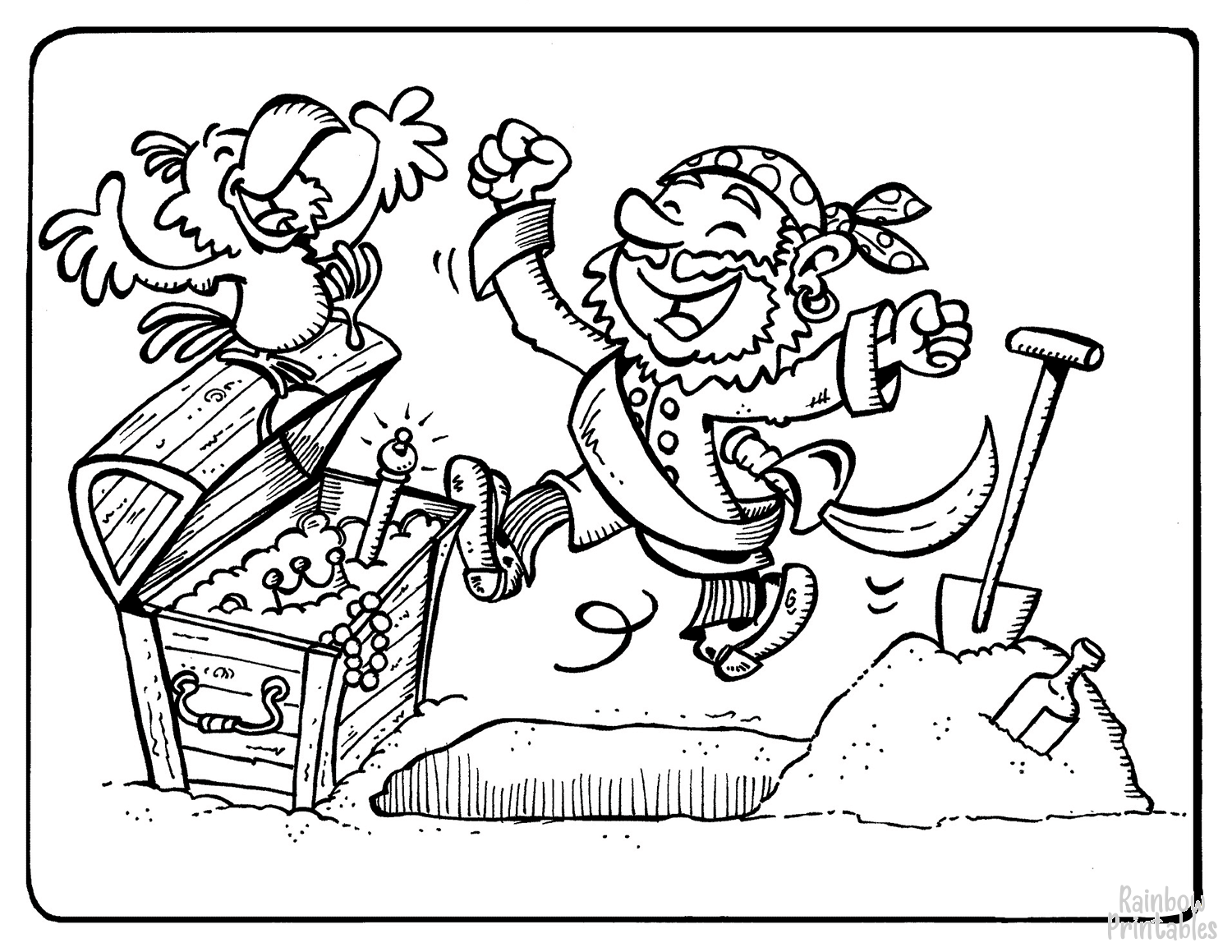 pirates celebrate treasure finding coloring page