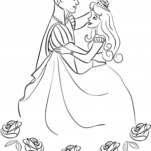 prince-and-princess-dancing-coloring-page SLEEPING BEAUTY Free Clipart Coloring Pages for Kids Adults Art Activities Line Art