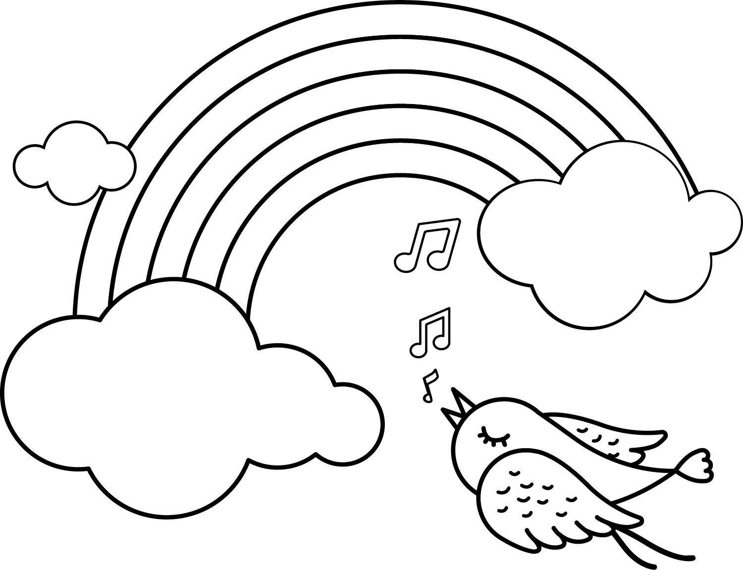 RAINBOW-AND-BIRD-SINGING-MUSIC-Clipart Coloring Pages for Kids Adults Art Activities Line Art
