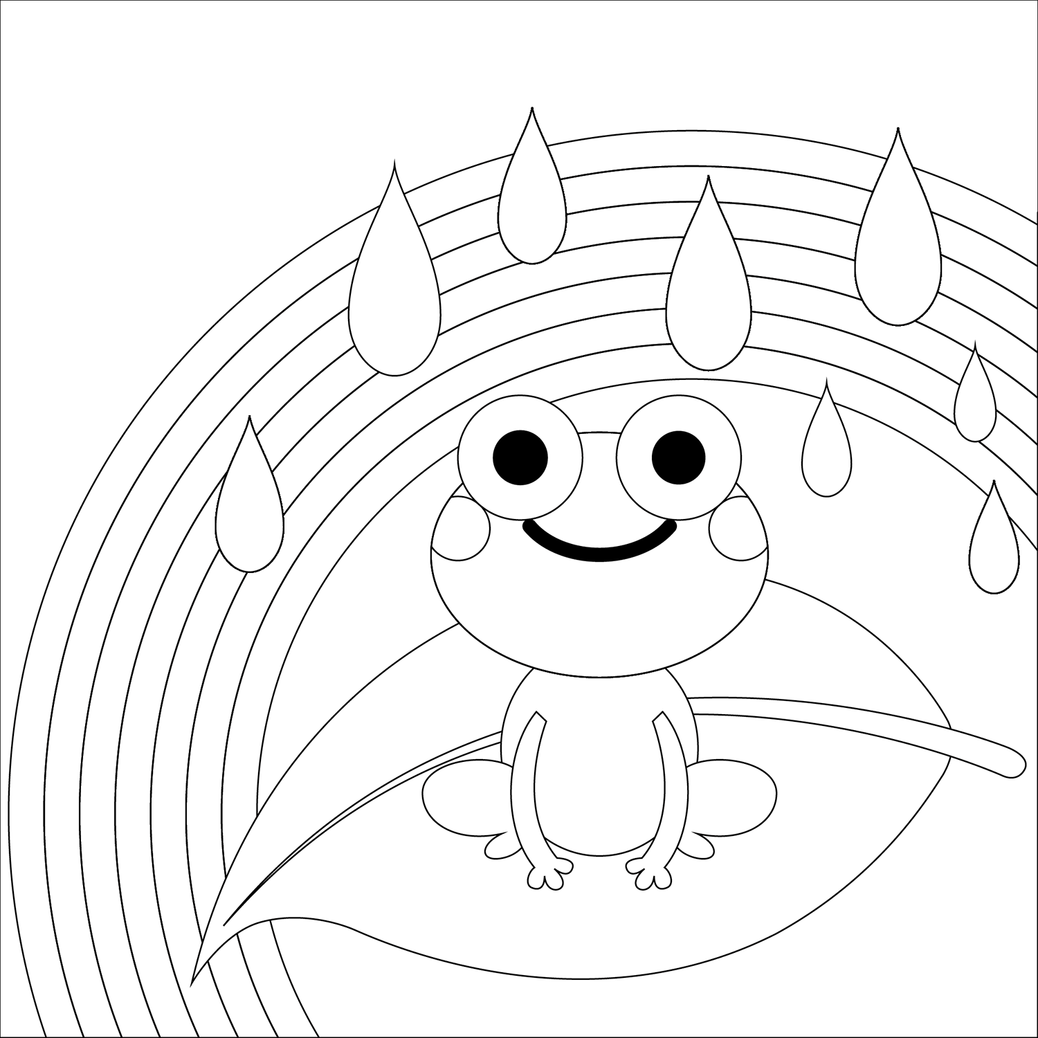 RAINBOW-AND-FROG-RAINDROPS-Clipart Coloring Pages for Kids Adults Art Activities Line Art