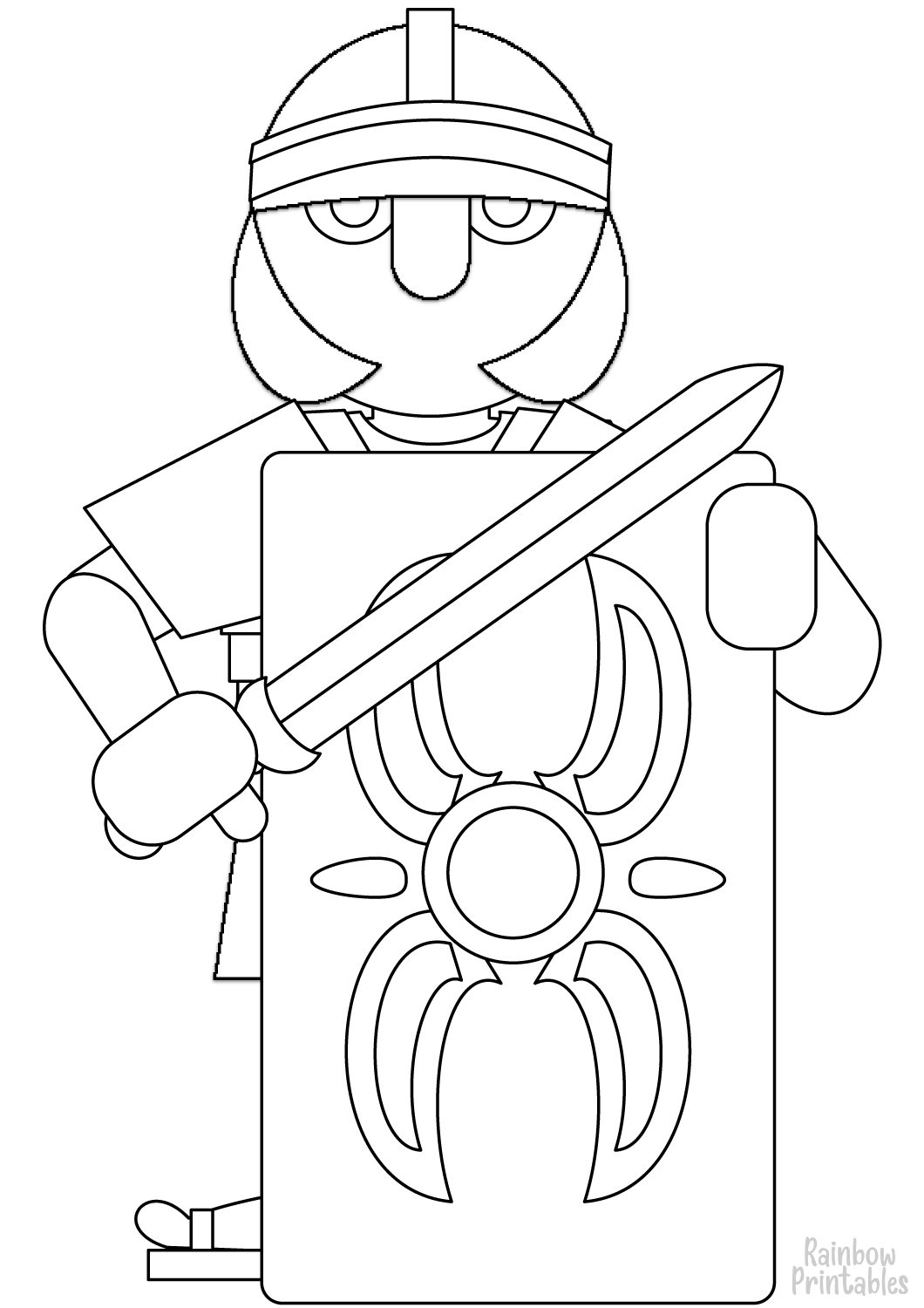ROMAN KNIGHT SOLDIER Free Clipart Coloring Pages for Kids Adults Art Activities Line Art