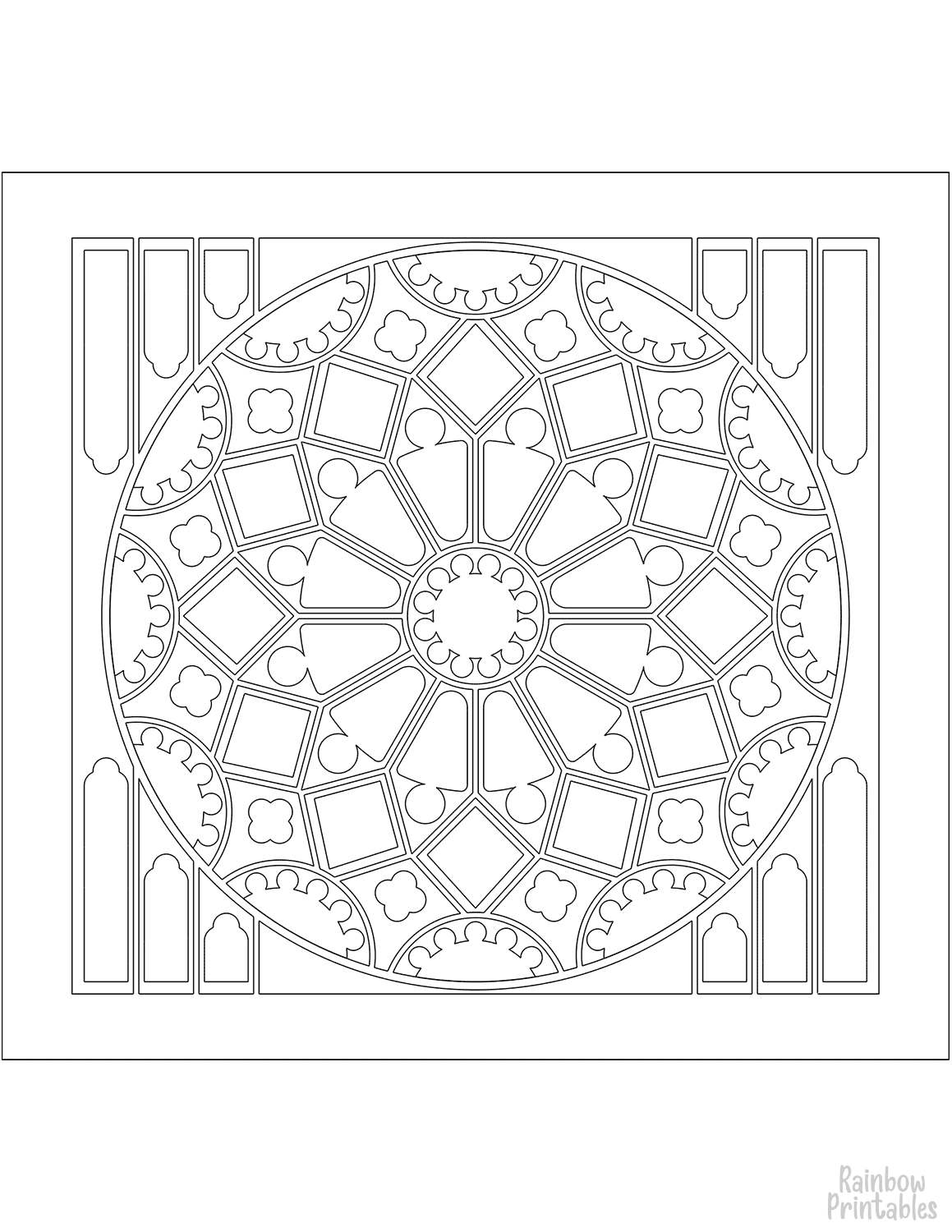 STAINED GLASS ROSE WINDOW Clipart Coloring Pages for Kids Adults Art Activities Line Art