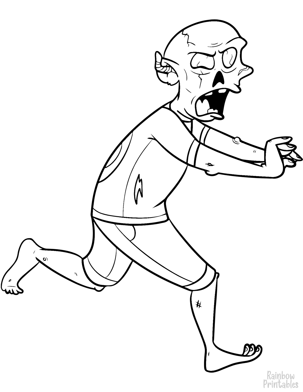 running zombie coloring page