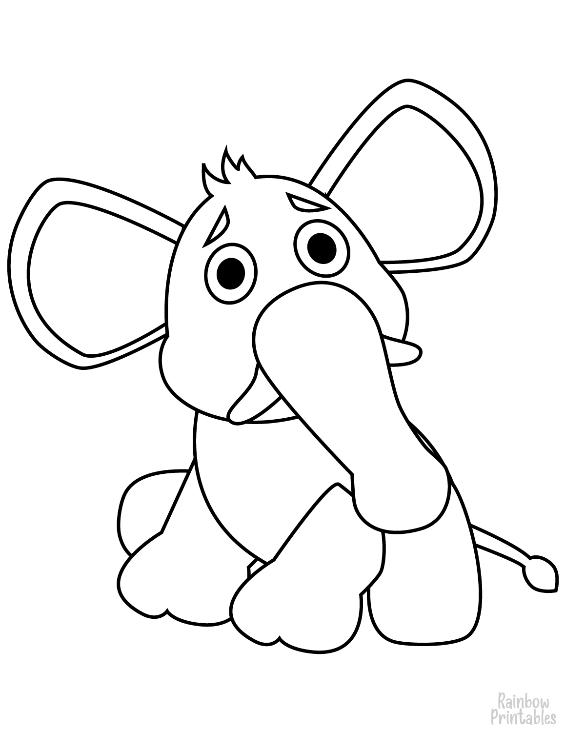 SAD STUFFED ELEPHANT TOY Clipart Coloring Pages for Kids Adults Art Activities Line Art