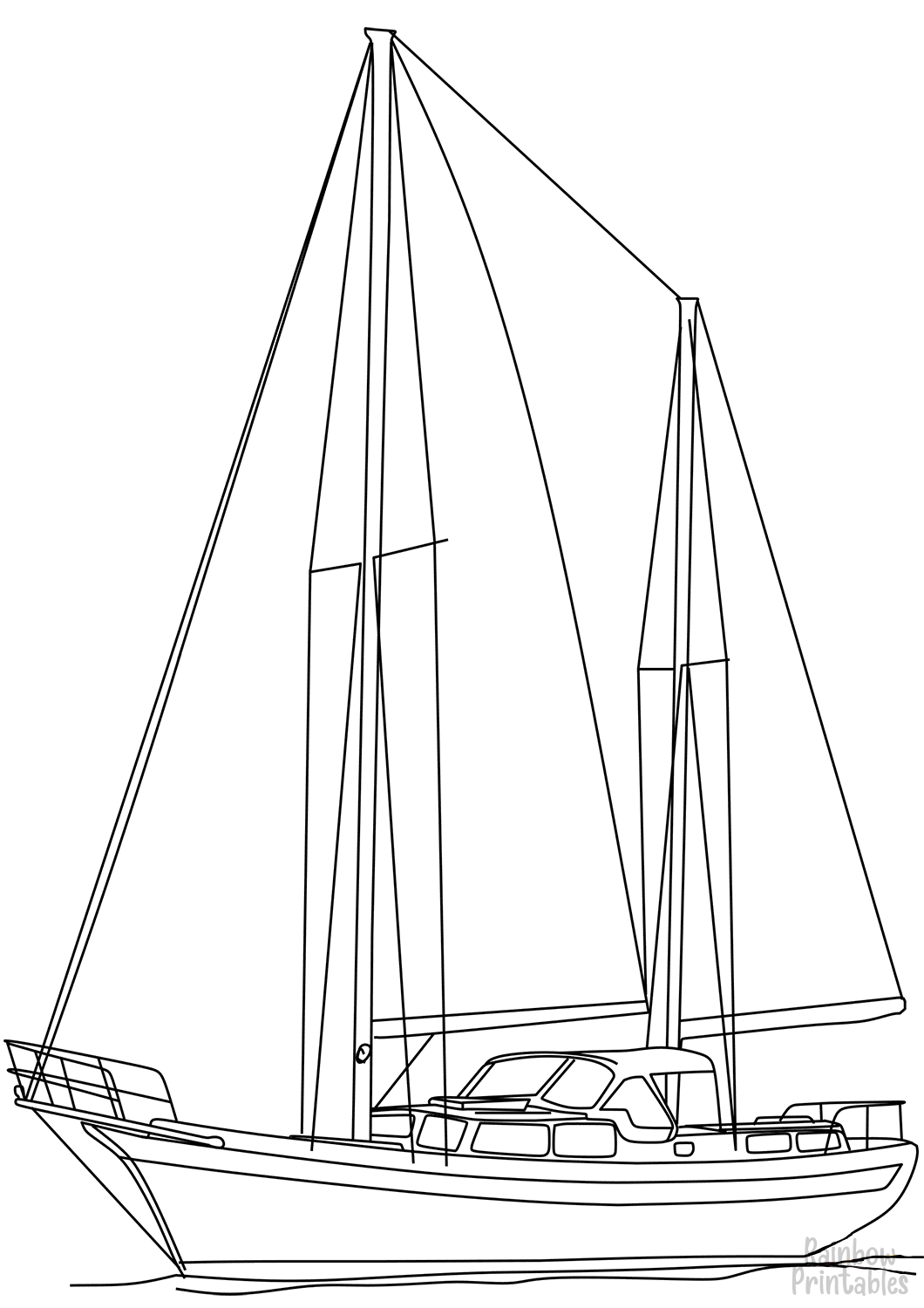 sailing-ketch-Clipart Coloring Pages for Kids Adults Art Activities Line Art