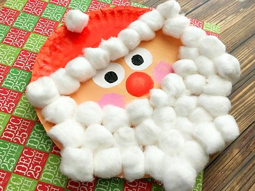 Santa Christmas Paper Plate made from cotton balls and paper plate