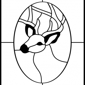 STAINED GLASS DEER ANTLERS ANIMAL Clipart Coloring Pages for Kids Adults Art Activities Line Art